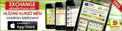 Mobilní aplikace EXCHANGE - aktuální kurzy měn